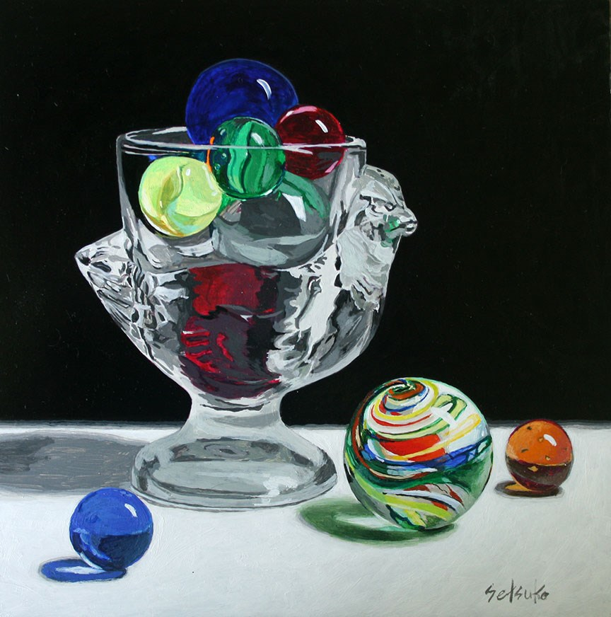 """Antique egg holder and marbles"" original fine art by Setsuko Lawson"