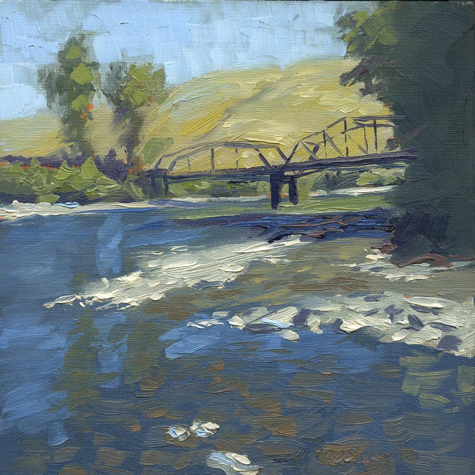 """Footbridge"" original fine art by B. Rex Stewart"