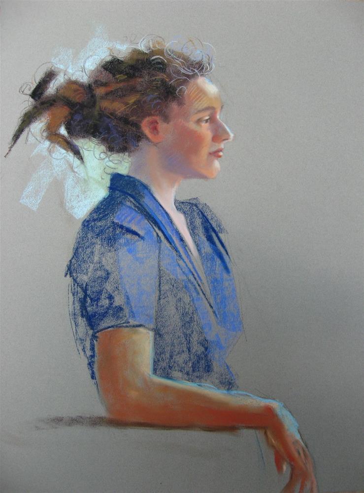 """Hannah in blue 19x25 pastel"" original fine art by Claudia Hammer"