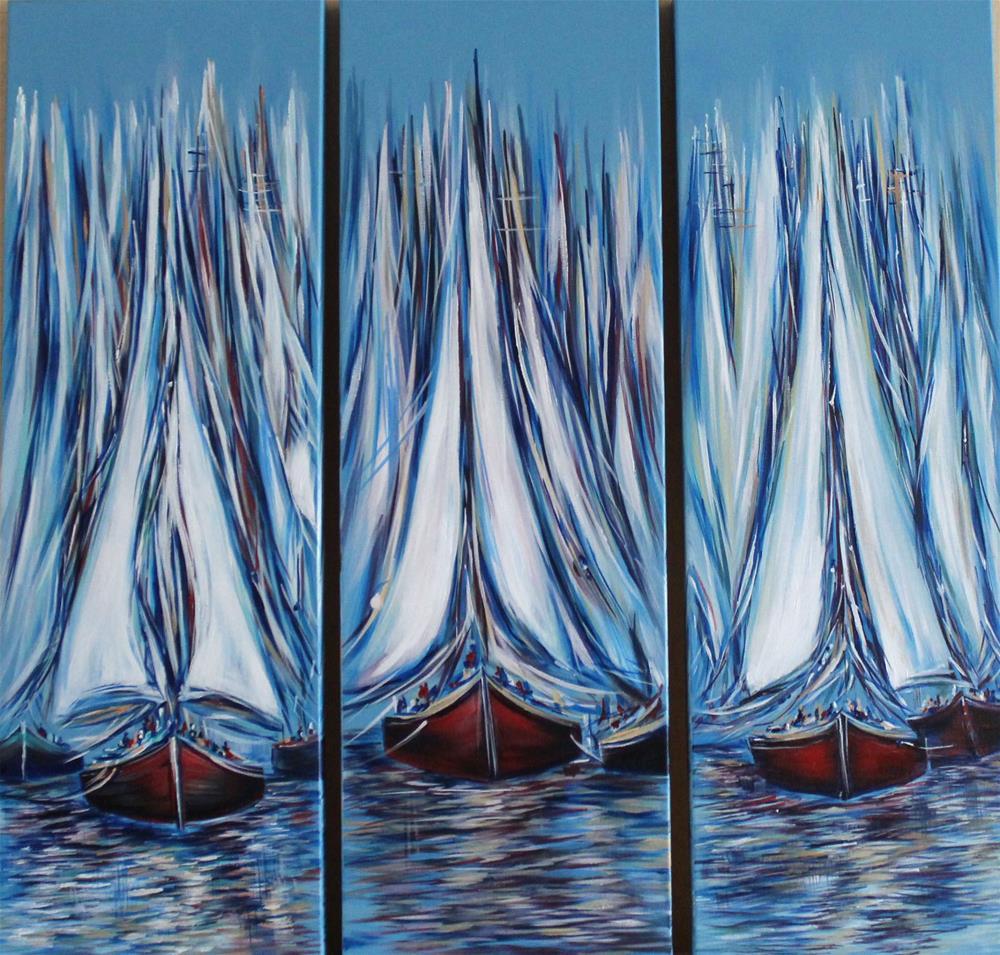 """Boat Fantasy LG triptych"" original fine art by Khrystyna Kozyuk"