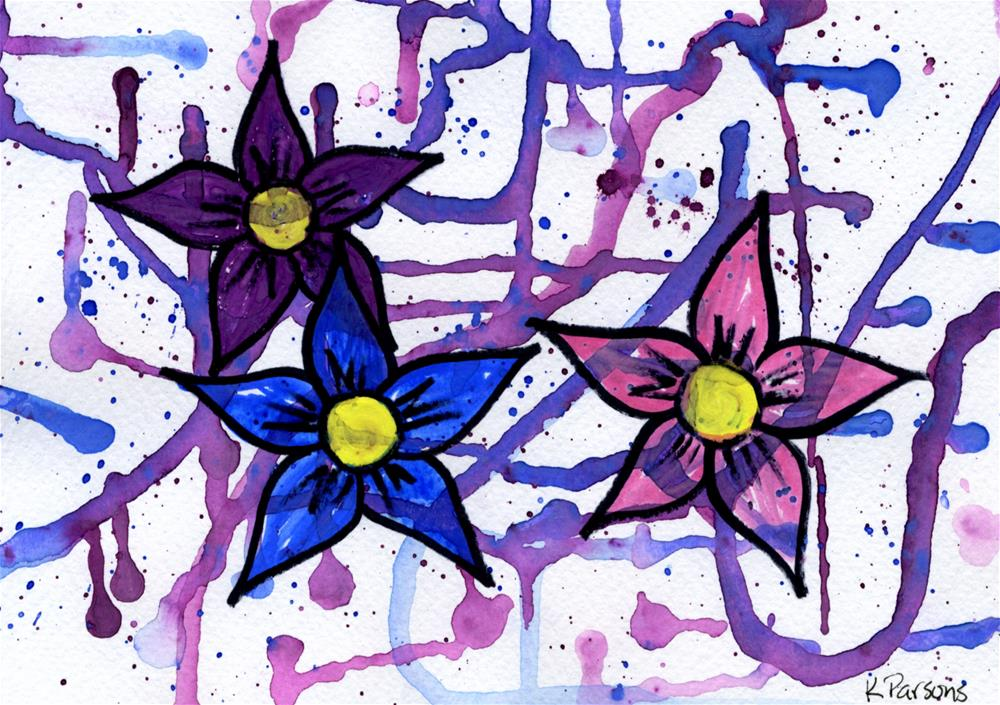 """Flowers over Drips"" original fine art by Kali Parsons"