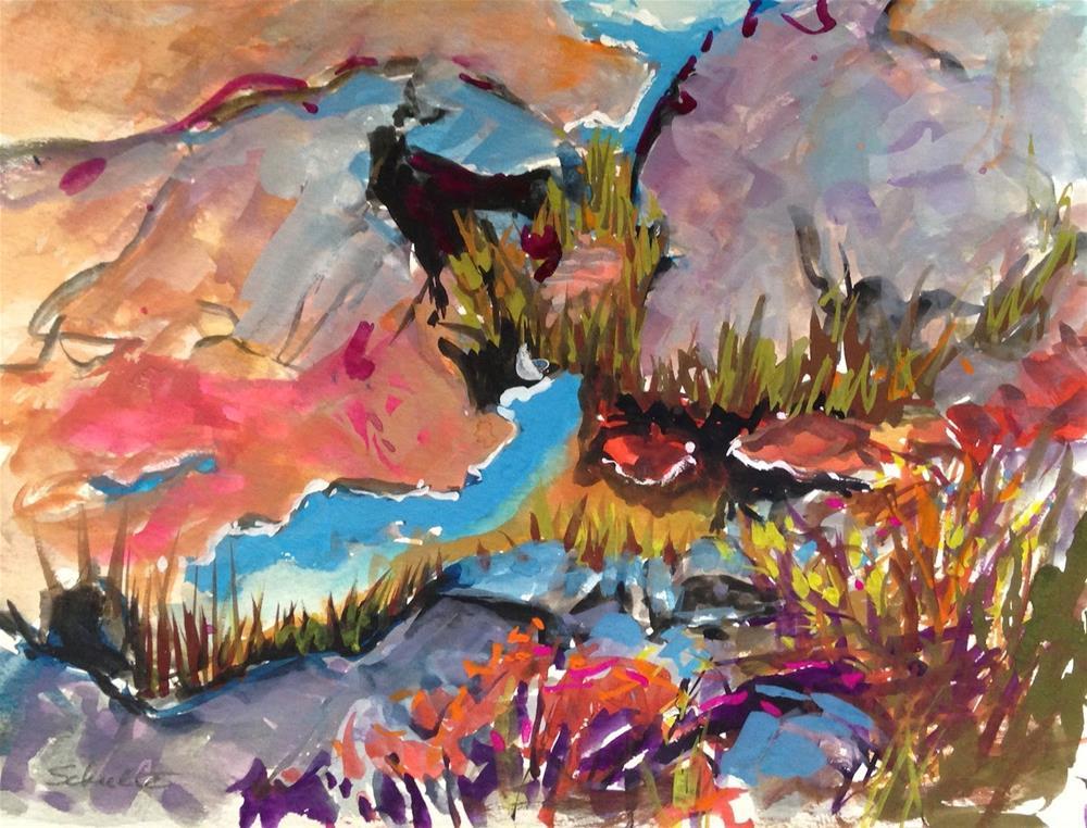 """Nubble Rocks and Rainpools"" original fine art by Lynne Schulte"