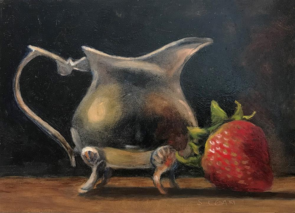 """Silver Creamer with Strawberry"" original fine art by Sharon Egan"