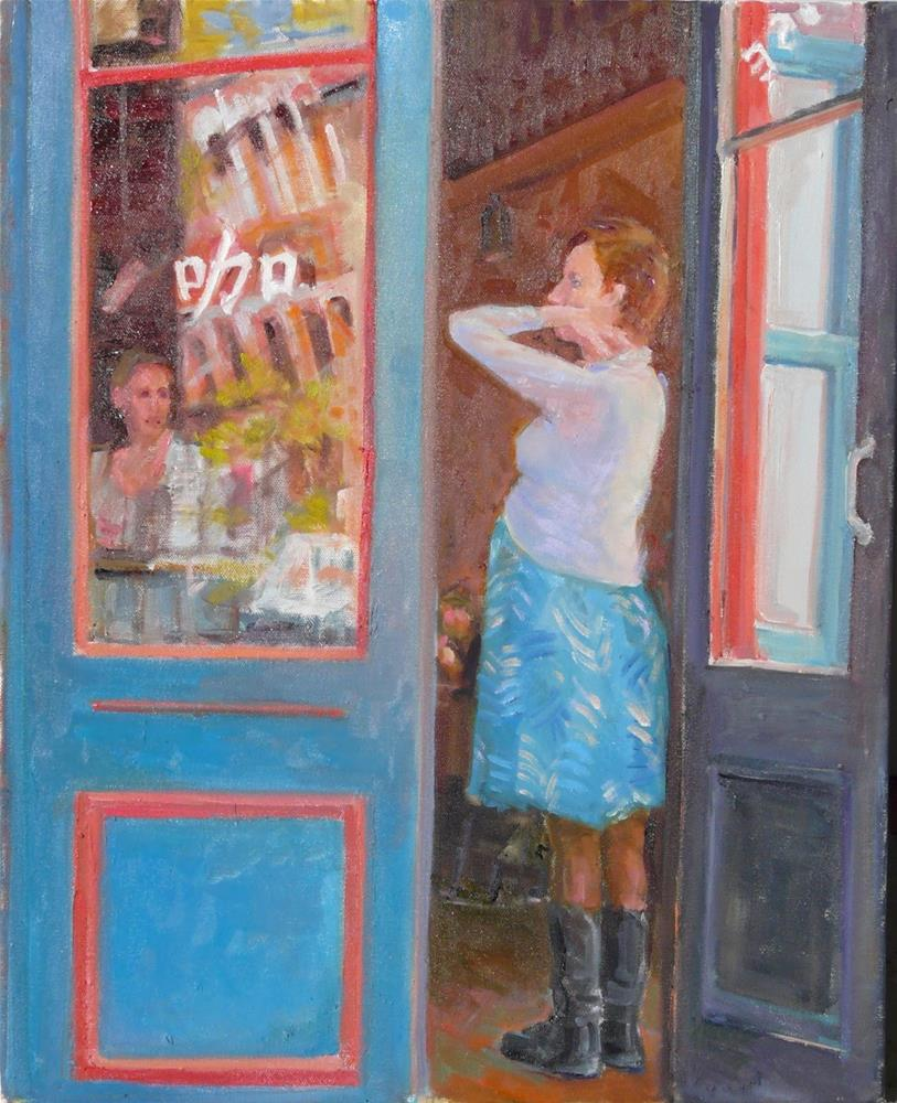 """Threshold,figure,oil on canvas,20x16,priceNFS"" original fine art by Joy Olney"