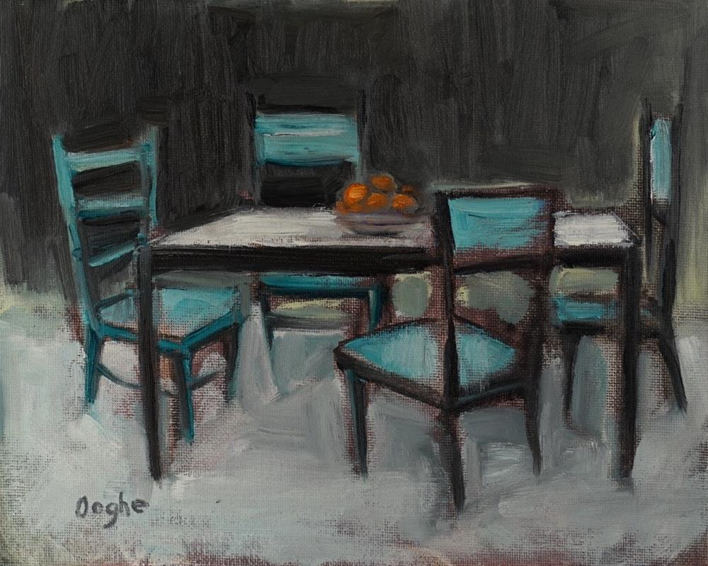 """Table with Oranges"" original fine art by Angela Ooghe"