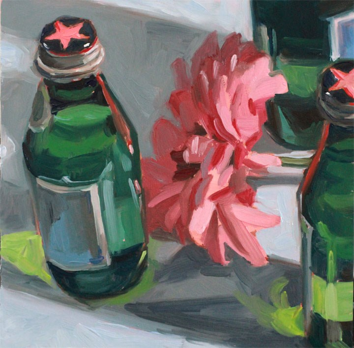 """Little Green Bottles"" original fine art by Nealy May Riley"