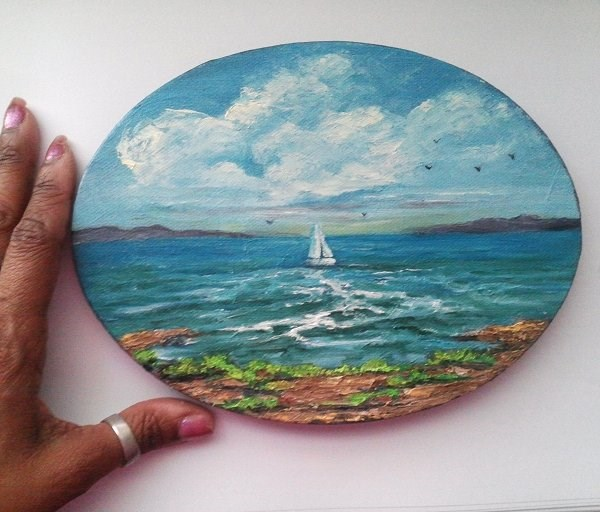 """Oil Painting Boat Seascape"" original fine art by Camille Morgan"