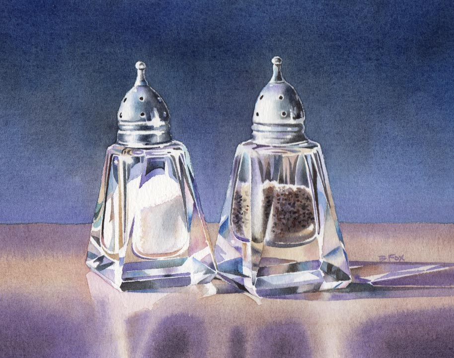 """SALT & PEPPER (SOLD)watercolor still life painting"" original fine art by Barbara Fox"