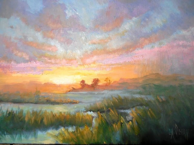 """Daily Painting, Sunset Painting, Small Oil Painting, Marsh Sky, 11x14x1.5 Landscape Oil Painting"" original fine art by Carol Schiff"
