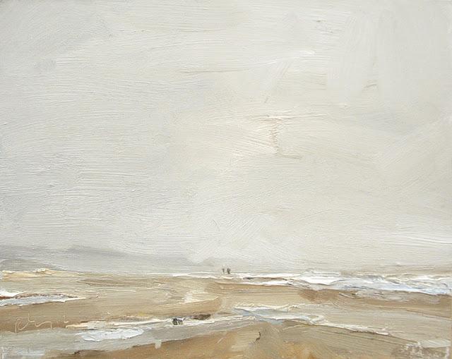 """""""Seascape winter # 9 Breathing (in) the wide open - zeegezicht"""" original fine art by Roos Schuring"""