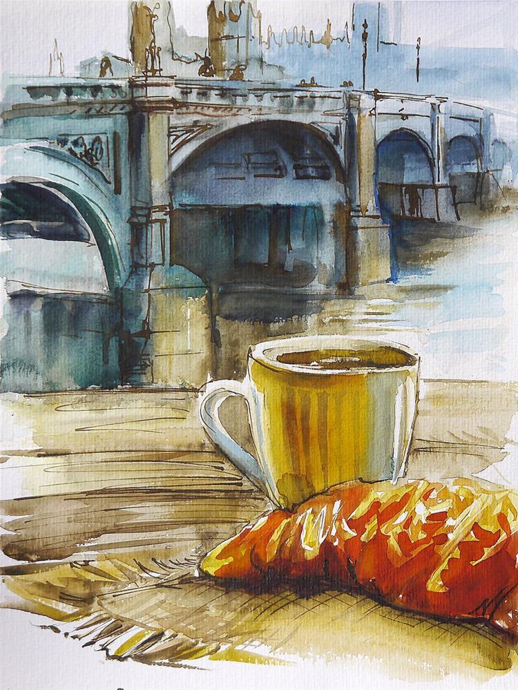 """London- breakfast"" original fine art by Beata Musial-Tomaszewska"