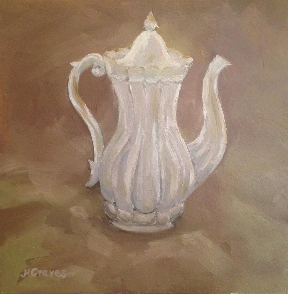 """White Teapot"" original fine art by J H Graves"
