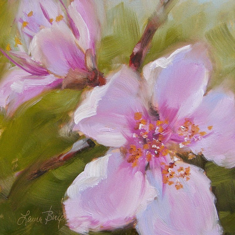 """3rd Peach Blooms - 341"" original fine art by Laura  Buxo"
