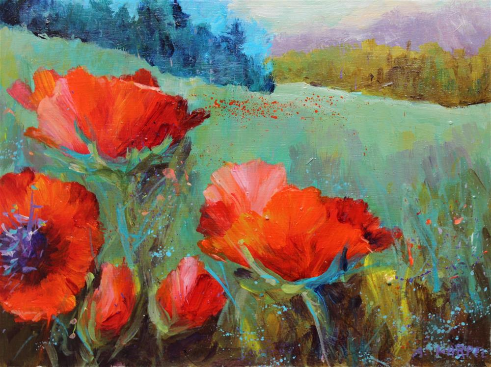 """Original acrylic poppy flower landscape art painting"" original fine art by Alice Harpel"