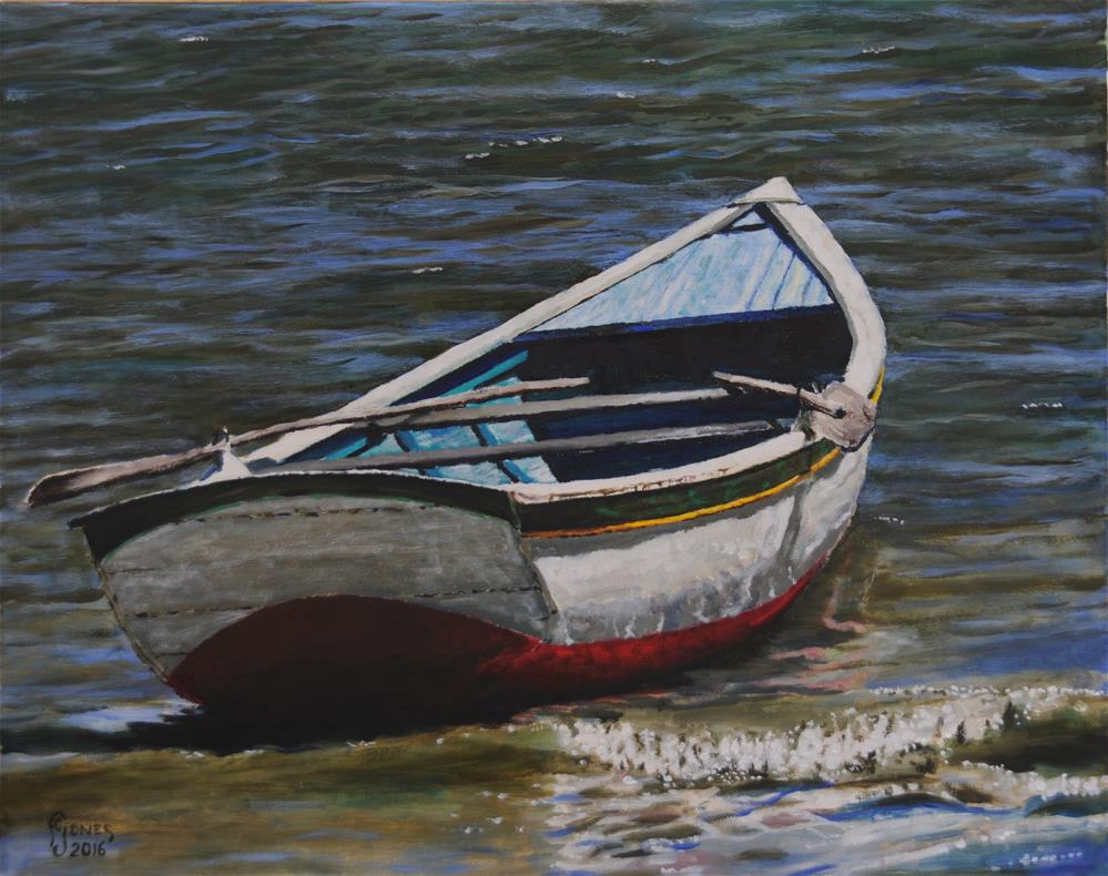 """Boat with Yellow Stripe"" original fine art by Fred Jones"