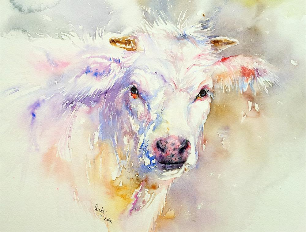 """Polly the Cow"" original fine art by Arti Chauhan"