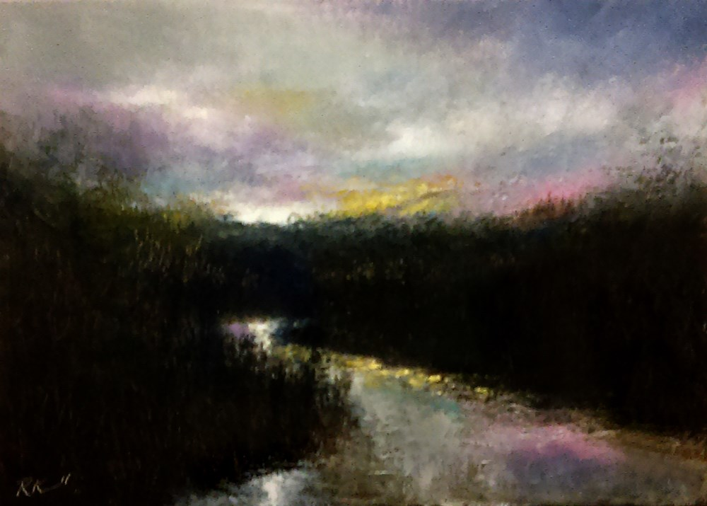 """River at Twilight"" original fine art by Bob Kimball"