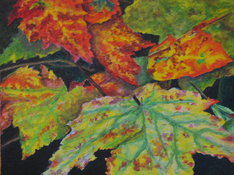 """Fall Leaves"" original fine art by Nan Johnson"