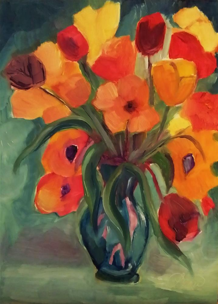 """Fat Tulips"" original fine art by Leni Tarleton"