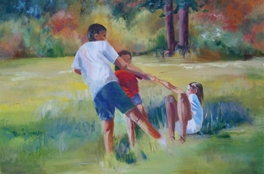 """Tug of War on the Meadow Grass"" original fine art by Reveille Kennedy"