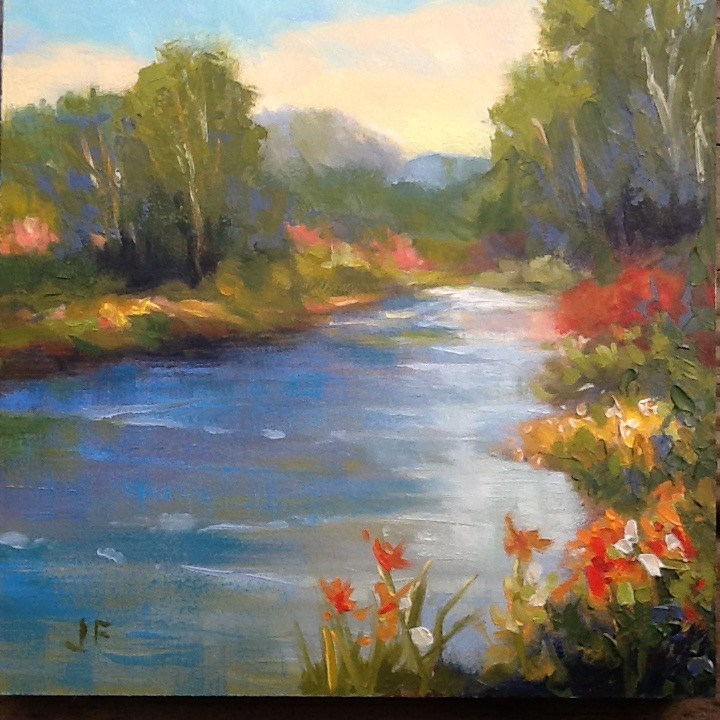 """Country Lake"" original fine art by Jean Fitzgerald"