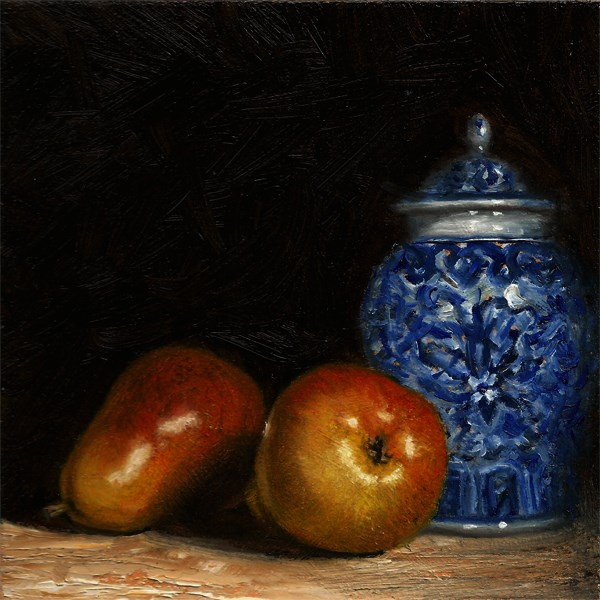 """Pears with ginger jar"" original fine art by Peter J Sandford"