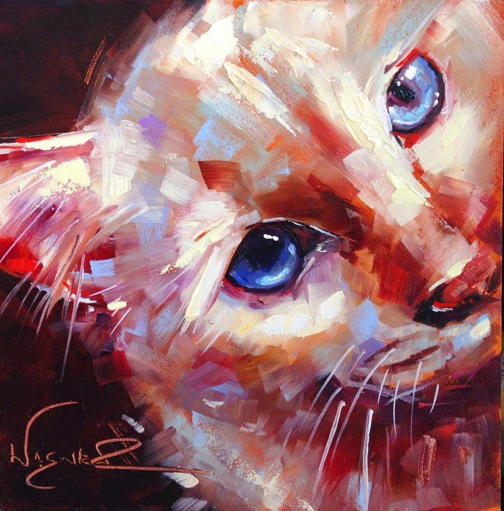 """ORIGINAL CONTEMPORARY WHITE CAT PAINTING in OILS by OLGA WAGNER"" original fine art by Olga Wagner"