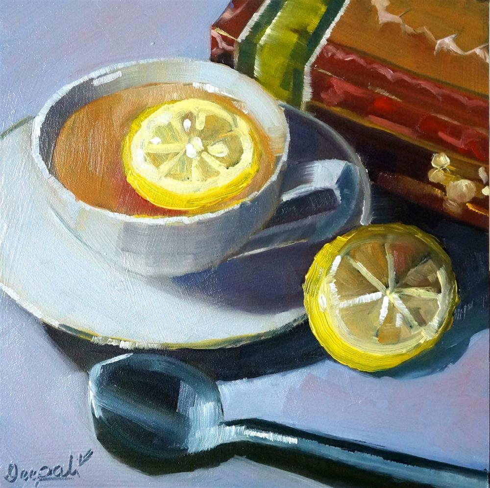 """Tea with lemon"" original fine art by Dipali Rabadiya"
