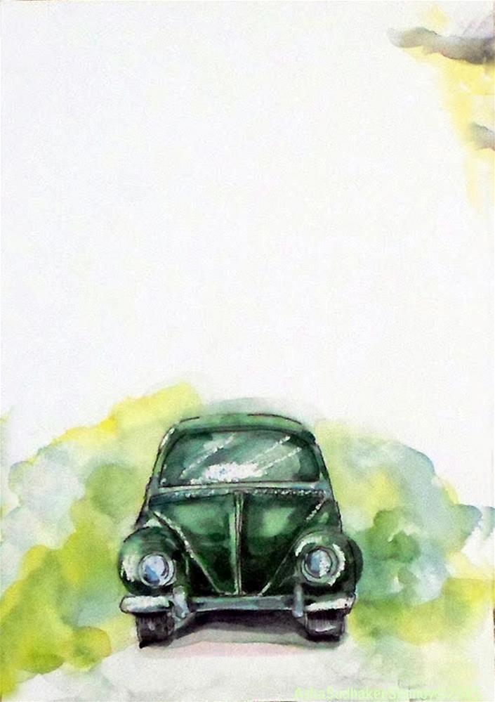 """Vintage Green"" original fine art by Asha Shenoy S"
