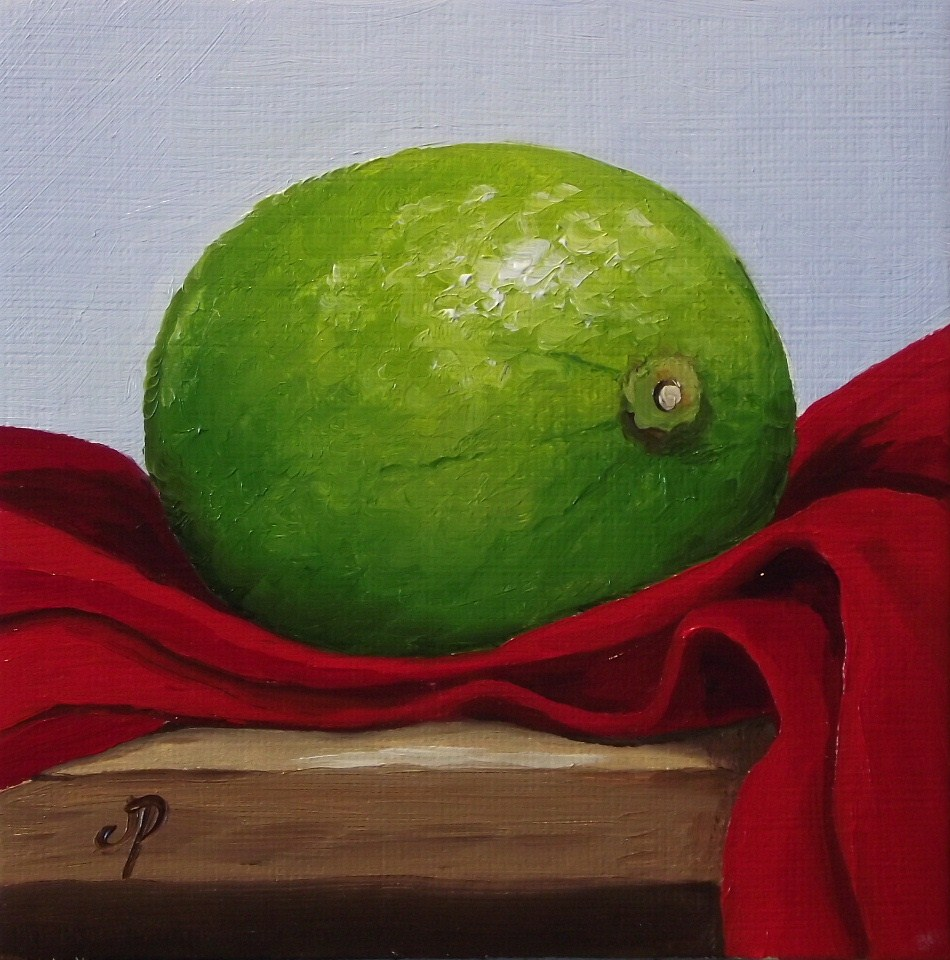 """Lime on Red"" original fine art by Jane Palmer"