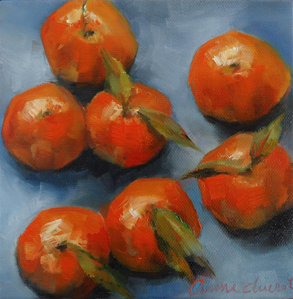 """Mandarines with leaves"" original fine art by Anne Ducrot"