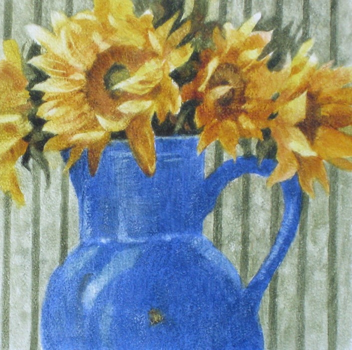 """Sunflowers in a Blue Jug"" original fine art by Ginger Pena"