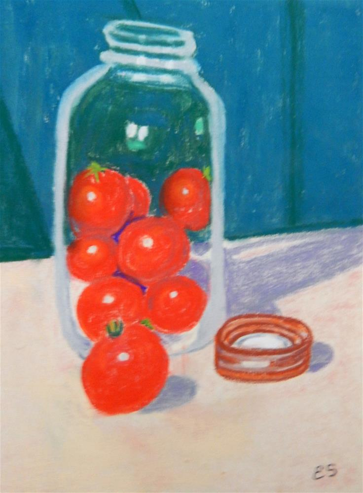 """Antique Canning Jar with Tomatoes"" original fine art by Elaine Shortall"