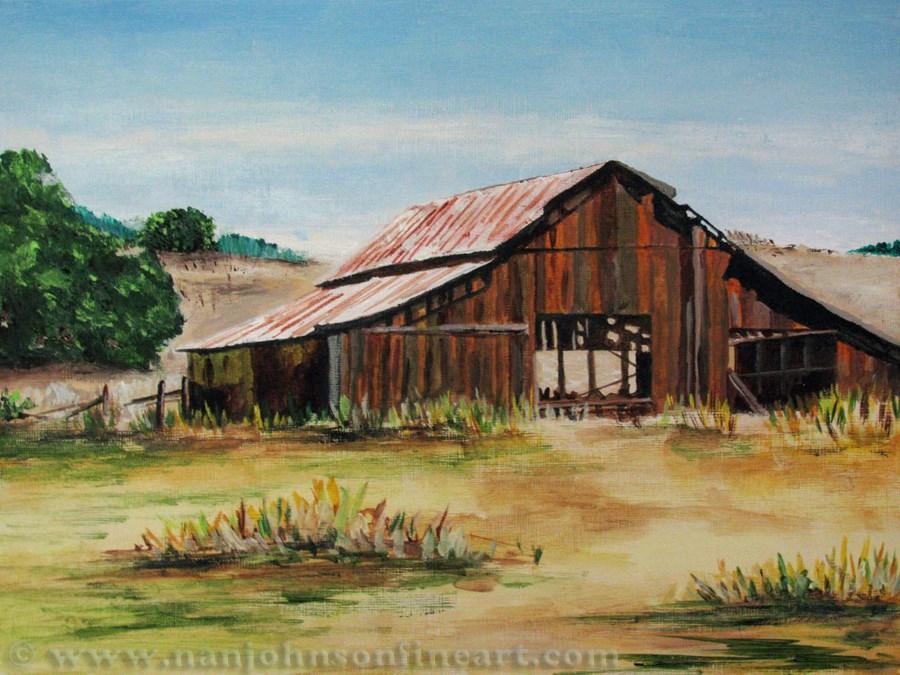 """The Old Barn"" original fine art by Nan Johnson"
