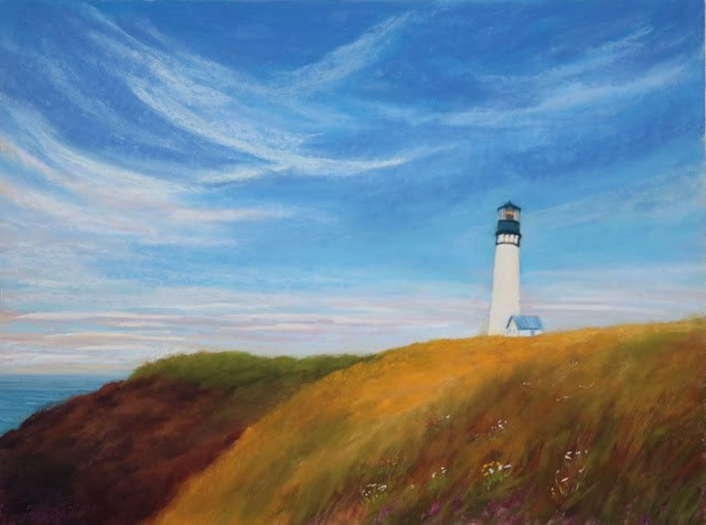 """Yaquina from Afar"" original fine art by Sharon Lewis"