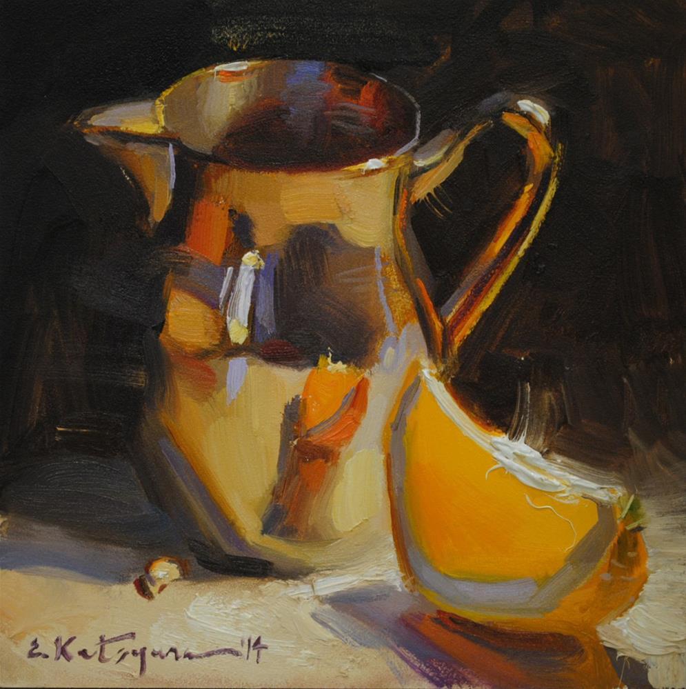 """Silver and Orange"" original fine art by Elena Katsyura"
