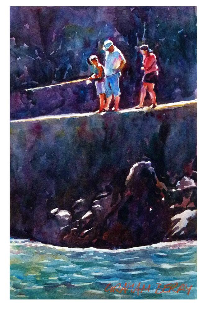 """Family fishing"" original fine art by Graham Berry"