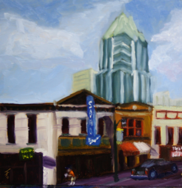 """Sixth Street, Austin TX"" original fine art by Jane Frederick"