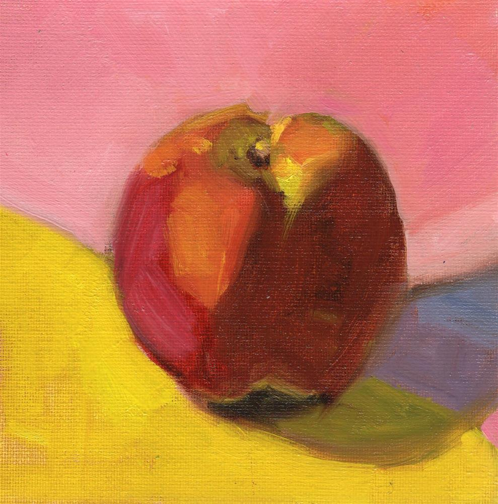 """Apple against Pink"" original fine art by Marlene Lee"