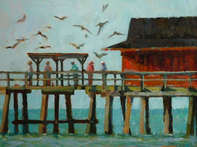 """Cleaning the Catch on Naples Pier 18x24 Iconic Naples Pier  FRAMED I can send a photo of the framed piece."" original fine art by Mary Sheehan Winn"