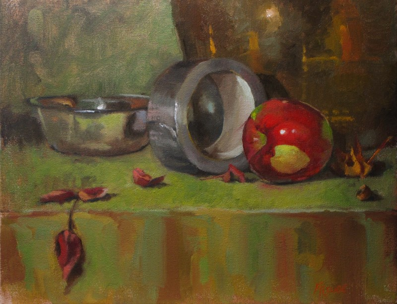 """Apple and duct tape"" original fine art by Dave Froude"