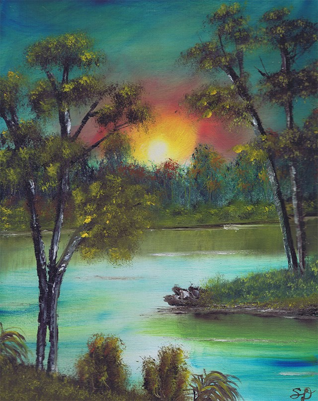 """Sunset on the River"" original fine art by Samara Doumnande"