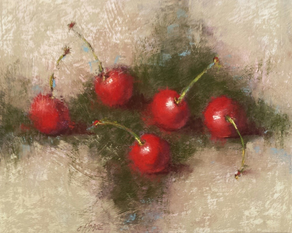 """Red Cherries"" original fine art by Cindy Haase"
