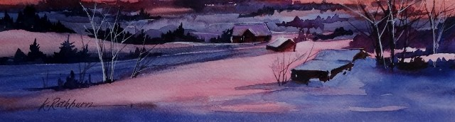 """Winter at Sunset"" original fine art by Kathy Los-Rathburn"