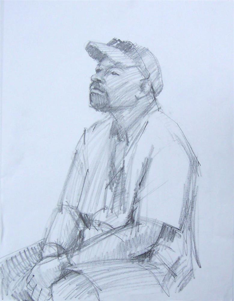"""Any Time Now,figure,graphite drawing,24x18,price$200"" original fine art by Joy Olney"