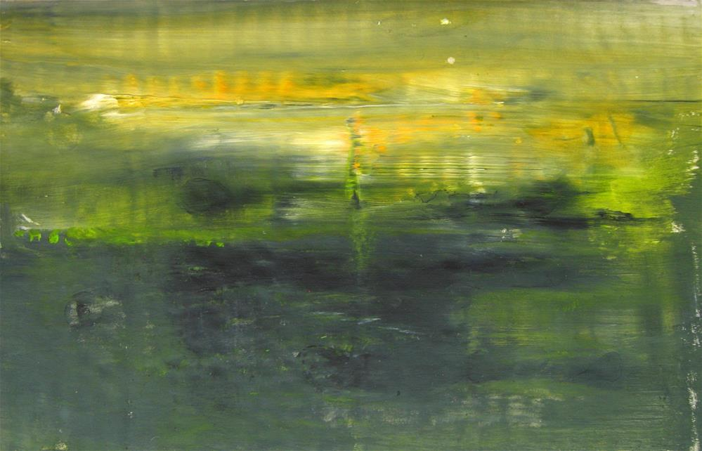 """Yellow Green Low Tide Glow "" original fine art by Alina Frent"