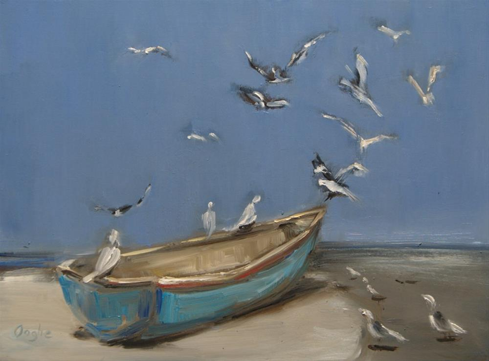 """Boat on Shore"" original fine art by Angela Ooghe"