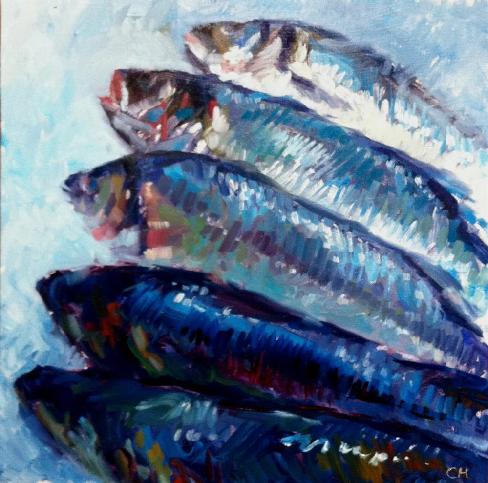 """blue fishes"" original fine art by Catherine Harley"