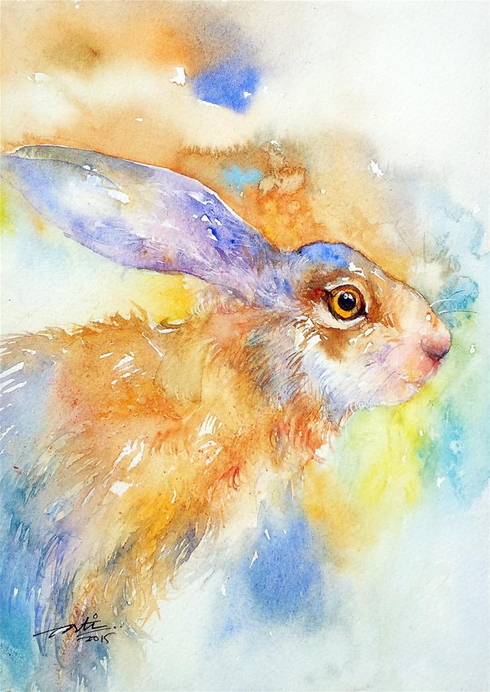 """""""Camouflage hare"""" original fine art by Arti Chauhan"""