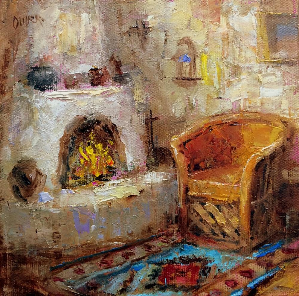 """By The Fire In New Mexico - day 11 of the challenge"" original fine art by Julie Ford Oliver"